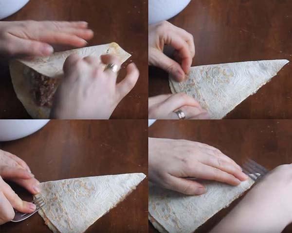 блинчики из лаваша с начинкой на сковороде