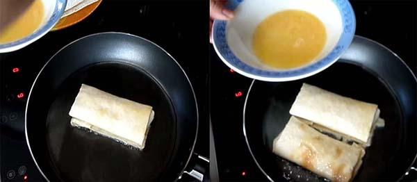 блинчики из лаваша с творогом на сковородке
