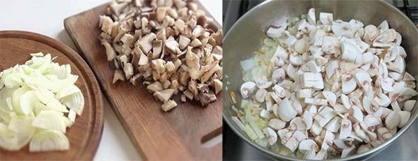 блины с грибами яйцом луком