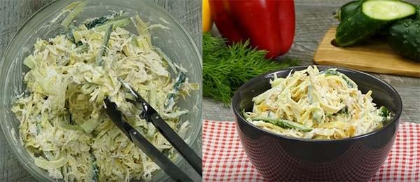 салат из куриной грудки и яичных блинчиков