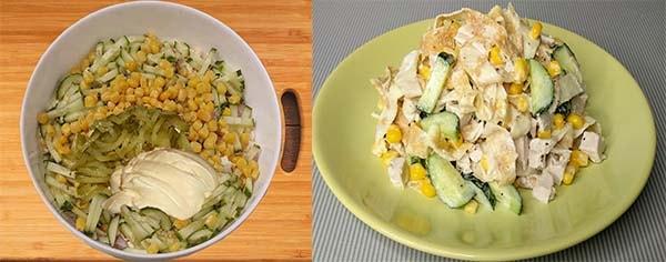 салат с куриной грудкой и блинами