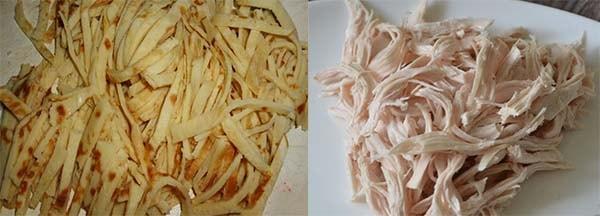 салат с куриной грудкой и блинчиками