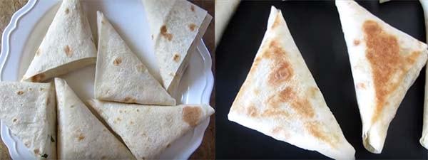 треугольники из лаваша с колбасой и сыром 3