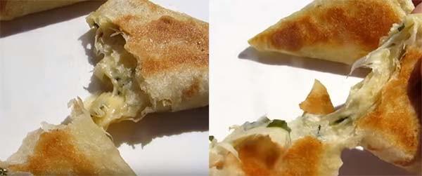 треугольники из лаваша с колбасой и сыром 4