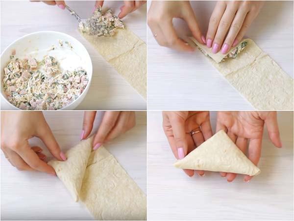 треугольники из лаваша с сыром и ветчиной 2