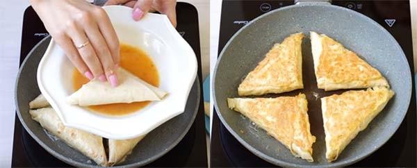 треугольники из лаваша с сыром и ветчиной 3