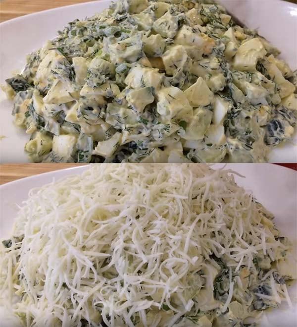 салат-подснежник-с-сыром-и-зеленью-6